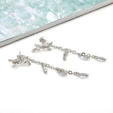 Wome's Korean Gold/Silver Leaves Zircon Tassel Earring Charms Ear Stud Jewelry