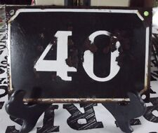 Large old black French house number 40 door gate wall plate enamel metal sign