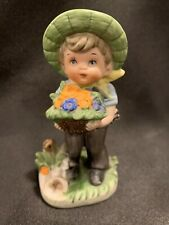 Vintage Enesco Figurine ~ Little Boy with Fruit Basket Replacement
