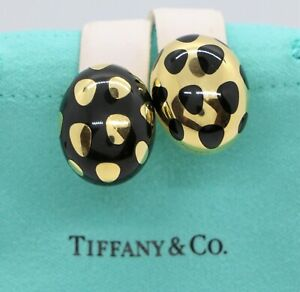 Rare Vintage Estate Tiffany & Co 18K Yellow Gold Enamel Mismatched Oval Earrings