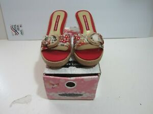 Chinese Laundry Destini Wedge Slides Mules size 8.5 or 8 1/2 red tan flower mix