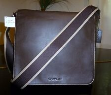 NWT COACH MEN HWL LEATHER MESSENGER MAP BAG F70555 BROWN