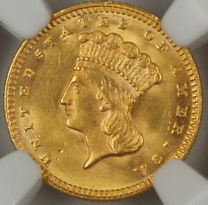 1874 Type III $1 Gold Coin, NGC UNC Details (Obverse Improperly Cleaned) AKR