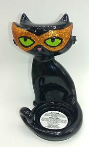 Bath & Body Works Halloween Black Cat w/Mask Mini Candle Tea/LED Light Holder
