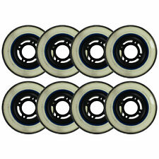 Inline Skate Replacement Wheels Black/Clear 76mm 80A 4-Spoke 8 Pack