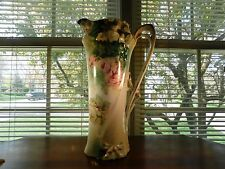 RS Prussia Hand Painted Tankard Roses Motif Carnation Blown Out Mold