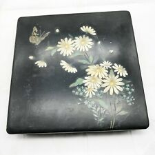 More details for antique art deco hand painted lacquerware butterfly jewellery lidded trinket box