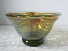 Old Vintage Canadian Art Glass Feathered Bowl Signed Lukian 1975 Hand Blown