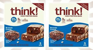 2 Thin! High Protein Bars Brownie Crunch Boxes 10 Bars Total EXP 5/22