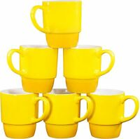 Bruntmor Porcelain Stackable Coffee Cups Mugs Set of 6 - 18 OZ Gradient Yellow