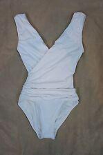 Vince Camuto Swim One Piece Sz 6 Solid White Deep V-Neck Wrap Swimsuit V53233