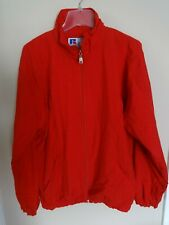 EUC Classic Russell Athletic Blank Red Zip Front Lined Jacket Men Medium
