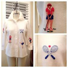 Vintage 60s Leroy knitwear novelty embroidered sport figures cardigan sweater