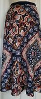 M&S NAVY MIX PAISLEY SCARF PRINT LINED PULL ON SLIP MIDI SKIRT SIZE 16LNG  BNWT