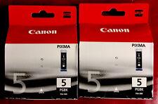 2x Canon Pixma PGI-5BK Black Ink Cartridges New & Sealed
