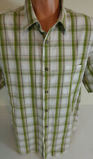 Cabelas Mens XL  Green Plaid Shirt  Short Sleeves 100% Cotton