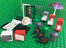 Lego HOUSE Spares door frames fence mail box umbrella bins lamps clock City Town