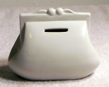 """Small 6""""x3"""" White Purse Still Bank - Hole in Bottom But no Plug"""