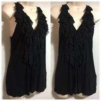 BR Women's Ruched Steampunk Goth Vamp Blouse Black Tank Top Vest Party UK 6 XS