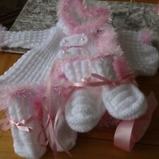 Hand Knitted Baby Girl's Hooded Jacket, Hat, Mitts & Bootees