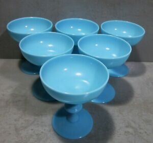 NEW/OLD 1930's SET: 6 BLUE OPALINE PORTIEUX VALLERYSTHAL SHERBET GLASSES #1/2