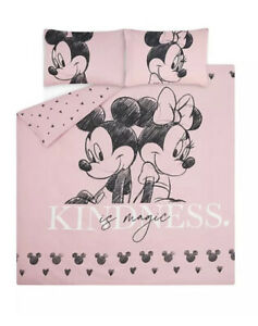 """DISNEY MICKEY & MINNIE MOUSE """"KINDNESS"""" PINK EASY CARE DOUBLE SIZE DUVET SET"""