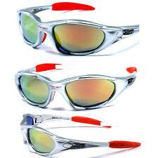 New XLoop Mens Womens Sports Biking Wrap Shades Sunglasses - Silver Fire X5
