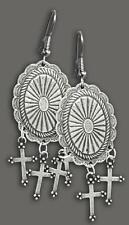 Large Concho Earrings & Pewter Crosses - NEW - Made in the USA - EJ-28