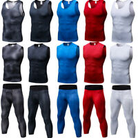 Men's Compression 3/4 Pants Top Athletic Base Layers Dri fit Vest Wicking Tights