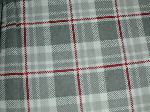 """Columbia KING Size 100% Cotton Flannel Sheet Set 19"""" DEEP - Gray/Red Plaid"""