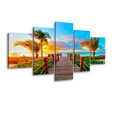 Wall Canvas Beach Palm Tree Art Nautical Ocean Sunset Picture 5 Pc Gift New