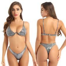 Sexy Women Metallic Padded Push Up Bikini Brief Swimsuit Swimwear Bathing Beach