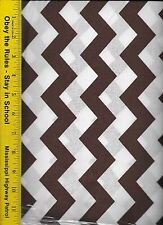 """QUILT FABRIC: 100% COTTON, BROWN 1"""" CHEVRON STRIPE, By The Yard"""