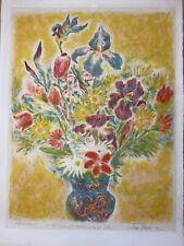 Vintage Pencil Signed IRA Moskawitz Hand Colored Floral Bouquet Artist Proof