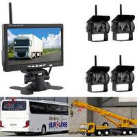 7 Inch Rear View Monitor+4 x Wireless 120° Backup Night Vision Cameras W/Remote