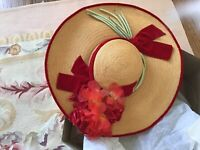 Vtg Antique Straw Hat Red Millinery Flower Hat In Box