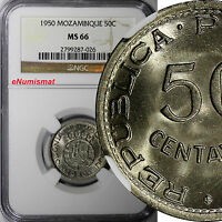 Mozambique PORTUGUESE 1950 50 Centavos NGC MS66 2 YEARS STRUCK KM# 76