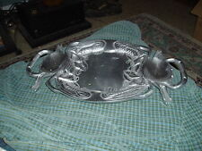 """Cast Aluminum Crab Seafood Fish Serving Tray 17"""" X 10.5"""" VG !"""