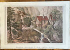 Beautiful Vintage Currier & Ives Litho Reprint Puzzle Picture Old Swiss Mill