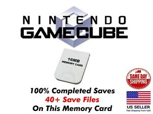 Unlocked GameCube Memory Card 40+ Save Files Completed GameCube Saves