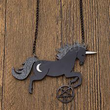 Large Glitter Unicorn Pentagram Pendant Necklace Black Acrylic Jewelry Gift
