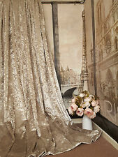 """NEW Stunning Heavy Champagne Crushed Velvet 93"""" Long 104""""Wide Lined Bay Curtains"""
