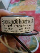 """Electro-Meters Current Transformer Ratio 75:5 2Rl-750 .6Kv 600V 1""""D"""