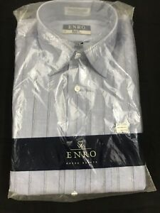 Enro Dress Shirt Pima Pin Point Oxford Blue Striped Classic Collar Size 16-34