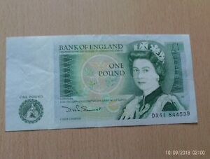 Bank of England £1 one pound note. V Fine  DHF Somerset 80- 88  RB89