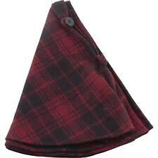 "Buffalo Check Christmas Tree Skirt 28"" Dark Red Black"