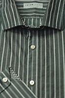 Thomas Dean Men's Gray & Stone Stripe Cotton Casual Shirt XL XLarge