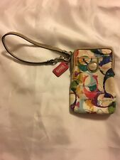 """COACH New York """"POPPY"""" STAMPED C HIP MULTI-COLORED WRISTLET WALLET EUC"""