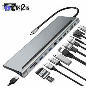 12 In 1 Type-C Laptop Docking Station 3.0 HDMI 4K VGA PD USB Hub For MacBook ATF