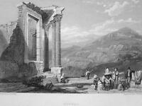 ITALY Tivoli Remains of Temple of Vesta - 1833 Antique Print Engraving